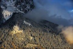 楚格峰山惊人的场面  包括的雪结构树 在加米施・帕藤吉兴,巴伐利亚,德国附近的巴法力亚峰顶 库存图片