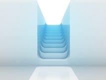 楼上楼梯方式在蓝色轻的设计 免版税库存照片