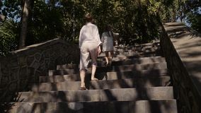 r 楼上母亲和女儿步行在热带海岛小山的乡下公路  风景观点 股票录像