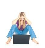 楼层膝上型计算机妇女 库存图片