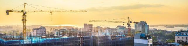 楼房建筑都市风景全景  缅甸仰光 免版税库存图片