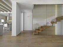 楼梯在一个现代客厅 库存照片