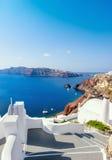 楼梯在圣托里尼海岛上的Oia村庄在希腊 库存照片