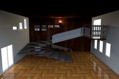 楼梯在仅陈列室的屋子概念里 免版税库存照片