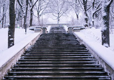 楼梯对冬天 库存照片