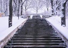 楼梯对冬天 免版税库存图片