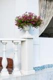 楼梯栏杆和陶瓷花瓶 免版税库存图片