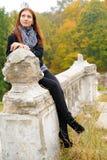 楼梯栏杆女孩 图库摄影