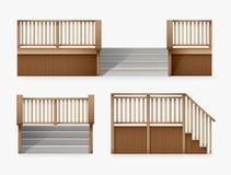 楼梯的传染媒介例证安置门廊的入口,楼梯从木楼梯栏杆前面和侧视图的 库存例证
