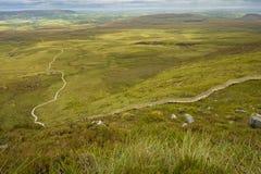 楼梯的看法对天堂的从上面的Cuilcagh山的 免版税库存图片