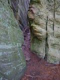 楼梯通过在岩石之间的一个裂缝在Mullerthal足迹在Berdorf,卢森堡 图库摄影