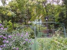 楼梯通过萨格勒布上部镇的一个公园  免版税库存图片