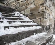 冻楼梯 免版税库存图片