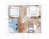 楼面布置图剪影 库存照片