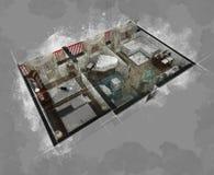 楼面布置图剪影 库存图片