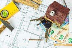 楼面布置图设计了在图画的大厦 设计和技术图画,一部分的建筑项目 合法的欧洲钞票 免版税库存照片