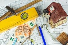 楼面布置图设计了在图画的大厦 设计和技术图画,一部分的建筑项目 合法的欧洲钞票 库存照片