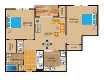 楼面布置图设计3D 免版税库存照片