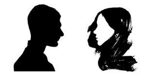 概念亲吻妇女的爱人 他和她 Siluet 向量例证