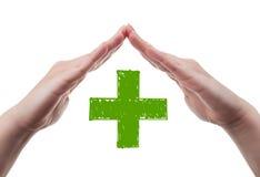 概念健康保险查出在白色 免版税库存图片