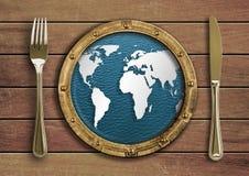概念叉子刀子映射舷窗世界 库存照片