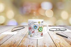 概念在一个杯子得出的企业计划咖啡 免版税库存照片