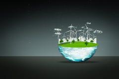 概念地球新鲜的地球草绿色行星 风轮机干净的自然生态环境 免版税库存图片