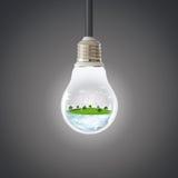 概念地球新鲜的地球草绿色行星 风轮机干净的自然生态环境 库存照片