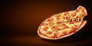 概念增进飞行物和海报餐馆或比萨店的,可口口味辣香肠烘饼, 免版税库存图片