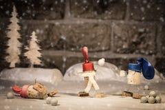概念孩子获得乐趣在雪 免版税库存照片
