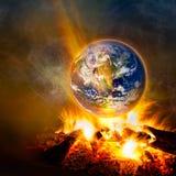 概念对比全球高故意定调子的温暖的黄色 图库摄影