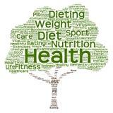 概念性健康或饮食树词云彩 免版税库存图片