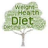 概念性健康或饮食树词云彩 免版税库存照片