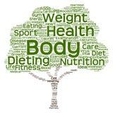 概念性健康或饮食树词云彩 免版税图库摄影