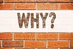 概念性公告文本说明启发陈列为什么问题 要求的在老砖ba写的概念企业概念 免版税库存照片