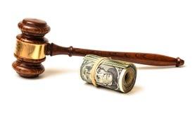 概念性惊堂木和法院罚款 免版税库存照片