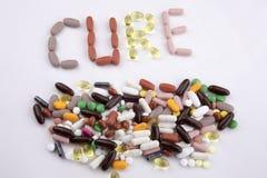 概念性手文字文本说明启发卫生保健健康概念写与药片使胶囊在白色的词治疗服麻醉剂我 免版税库存照片