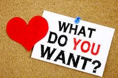 概念性手文字文本说明启发显示问题什么您想要目标刺激计划和爱writt的概念 免版税库存照片