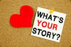 概念性手文字文本说明启发显示问题什么是您的故事概念对于份额讲故事经验和 免版税库存照片