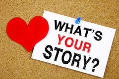 概念性手文字文本说明启发显示问题什么是您的故事概念对于份额讲故事经验和 免版税库存图片