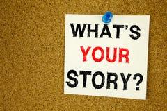概念性手文字文本说明启发显示问题什么是您的故事 份额讲故事的Expe企业概念 免版税库存照片