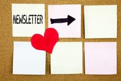 概念性手文字文本说明启发陈列订阅互联网网上通信和爱的w时事通讯概念 库存图片