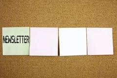 概念性手文字文本说明启发陈列订阅时事通讯互联网网上通信的o企业概念 库存照片