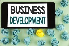 概念性手文字演艺界发展 企业照片文本开发并且实施组织成长机会 免版税库存照片