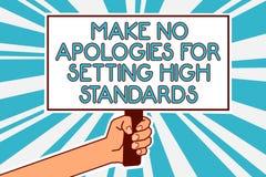 概念性手文字陈列不做出为规定高标准的道歉 企业照片文本寻找的质量生产力人 免版税图库摄影