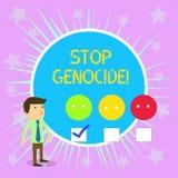 概念性手文字陈列中止种族灭绝 企业把结束放的照片文本在杀害和暴行上  向量例证