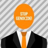 概念性手文字陈列中止种族灭绝 陈列企业的照片把结束放在杀害和暴行上  皇族释放例证