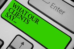 概念性手文字陈列什么我们的客户说 陈列您的用户反映的企业照片使用民意测验或书面pa 免版税库存照片