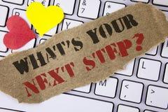 概念性手文字陈列什么是您的下一个步骤问题 企业照片文本Analyse在做出决定前要求自己 图库摄影