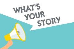 概念性手文字陈列什么s是您的故事 企业要求照片的文本某人告诉我关于他自己份额经验Sy 向量例证